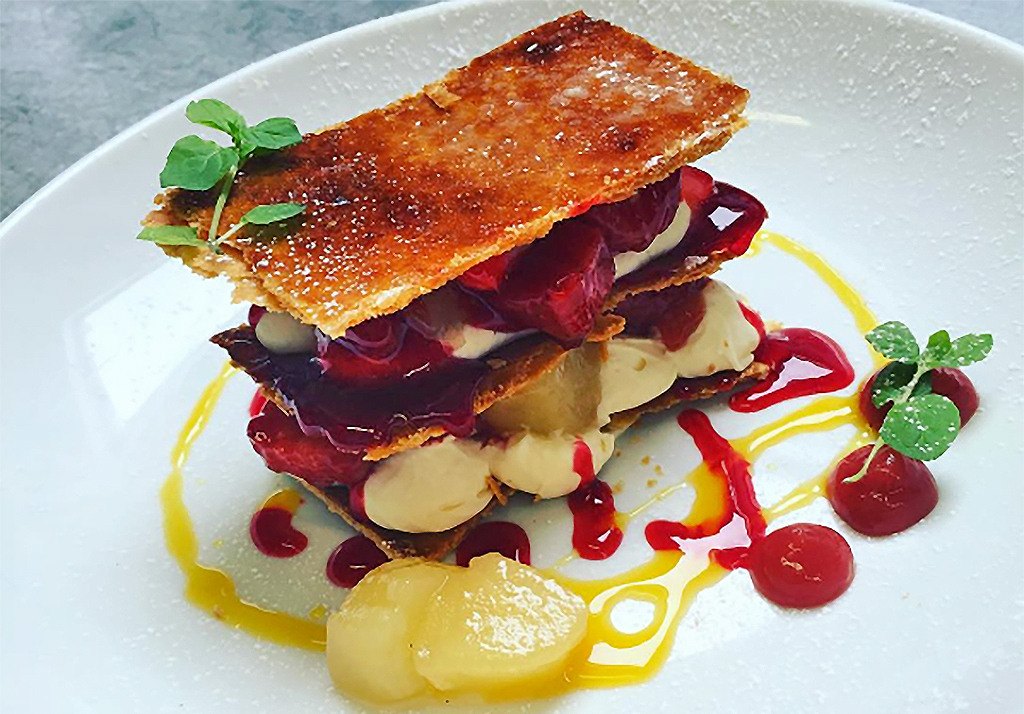 Pear & strawberry mille feuille
