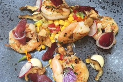 Grilled king prawns with Smoked duck & sweetcorn salsa